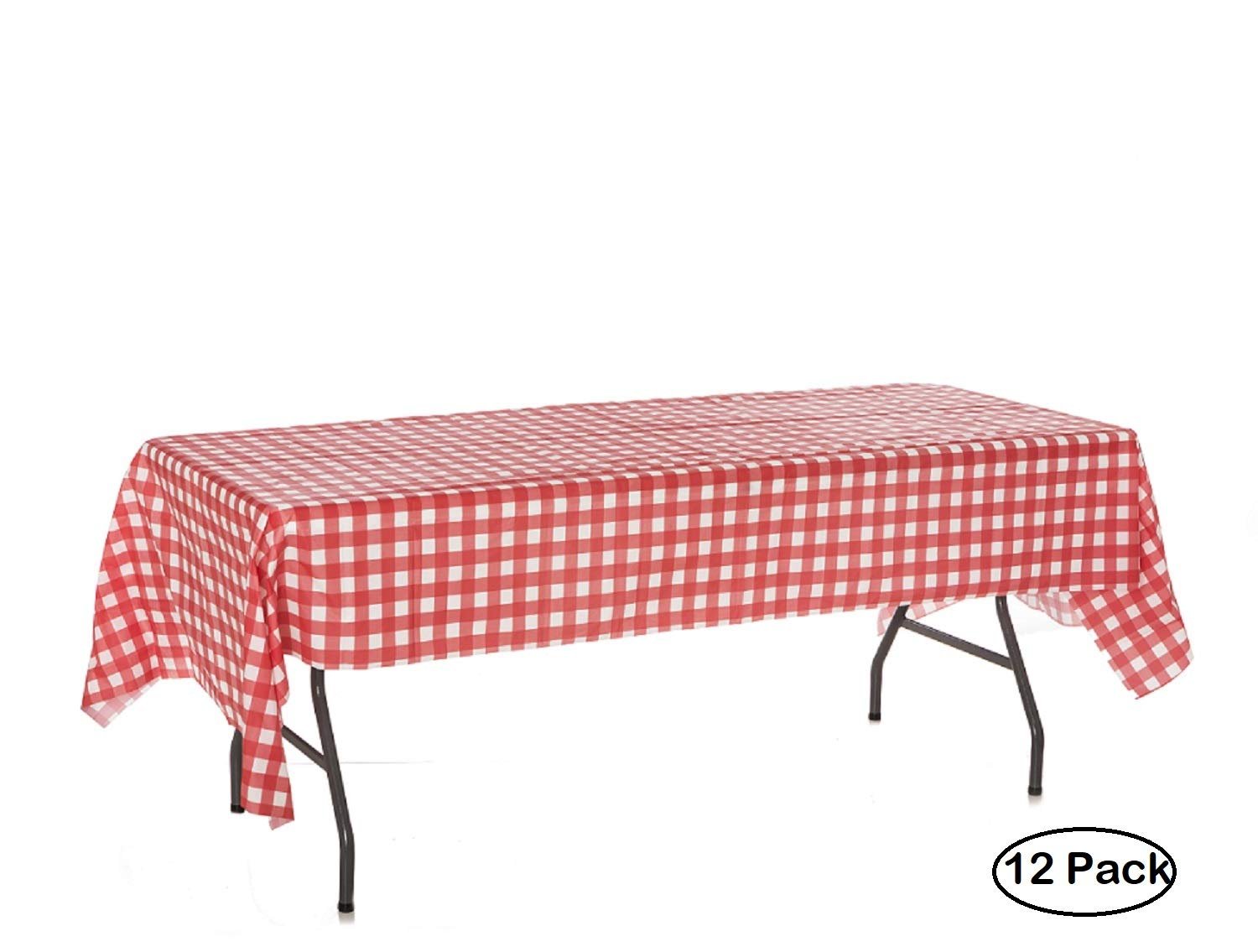 Pack of 12 Plastic Red and White Checkered Tablecloths - 12 Pack - Picnic Table Covers Gingham by Oojami