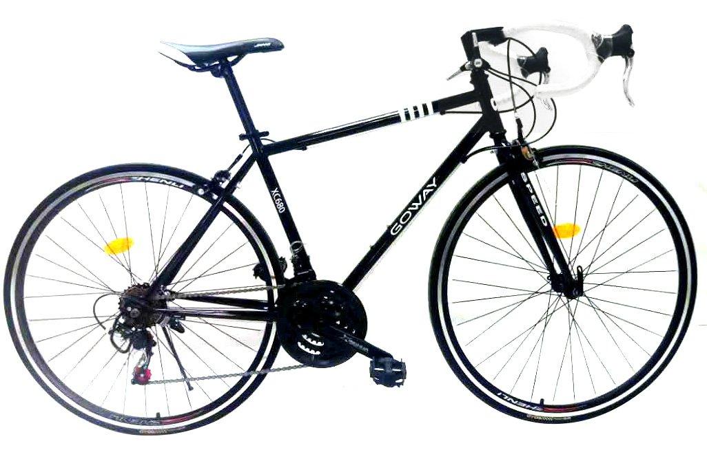 GOWAY(ゴーウェイ) XC680 700×23C ロードバイク シマノSIS仕様18段変速 初心者向け ライトチェーンロック付き [並行輸入品] B075C86PRS ブラック ブラック
