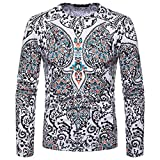 kaifongfu Men Shirt,African 32D Print Mens Long Sleeve Dashiki O-Neck Sweatshirt TopWhiteS
