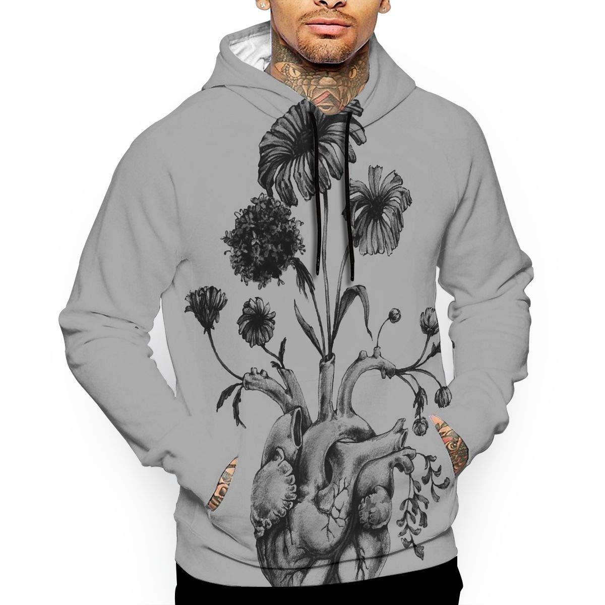YUANSHAN Heart Tree Mans Long Sleeve Hoodie Casual Pocket Hooded Sweatshirt