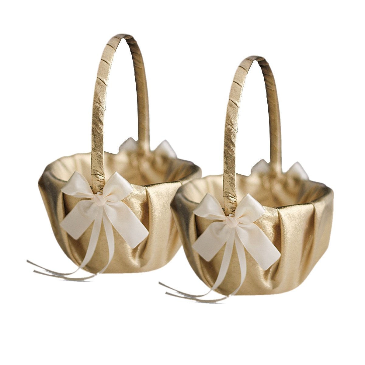 Roman Store Gold & Ivory Wedding Ring Bearer Pillow and Flower Girl Basket Set - Satin & Ribbons - Pairs Well with Most Dresses & Themes - Splendour Every Wedding Deserves
