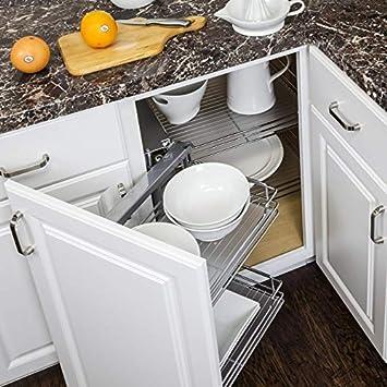 Heavy Duty Sliding Door Basket Blind Corner Cabinet Organizer With Soft  Close Slides For Frameless Cabinetry