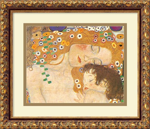 Framed Art Print, 'Three Ages of Woman - Mother and Child (Detail IV), 1905' by Gustav Klimt: Outer Size 15 x 13