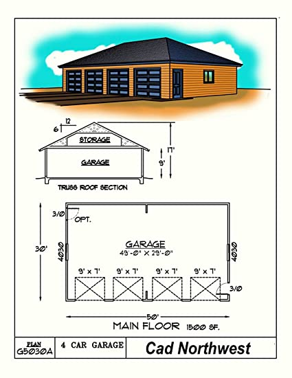 1 story Garage plans - Four Car - Hip Roof - 50' x 30