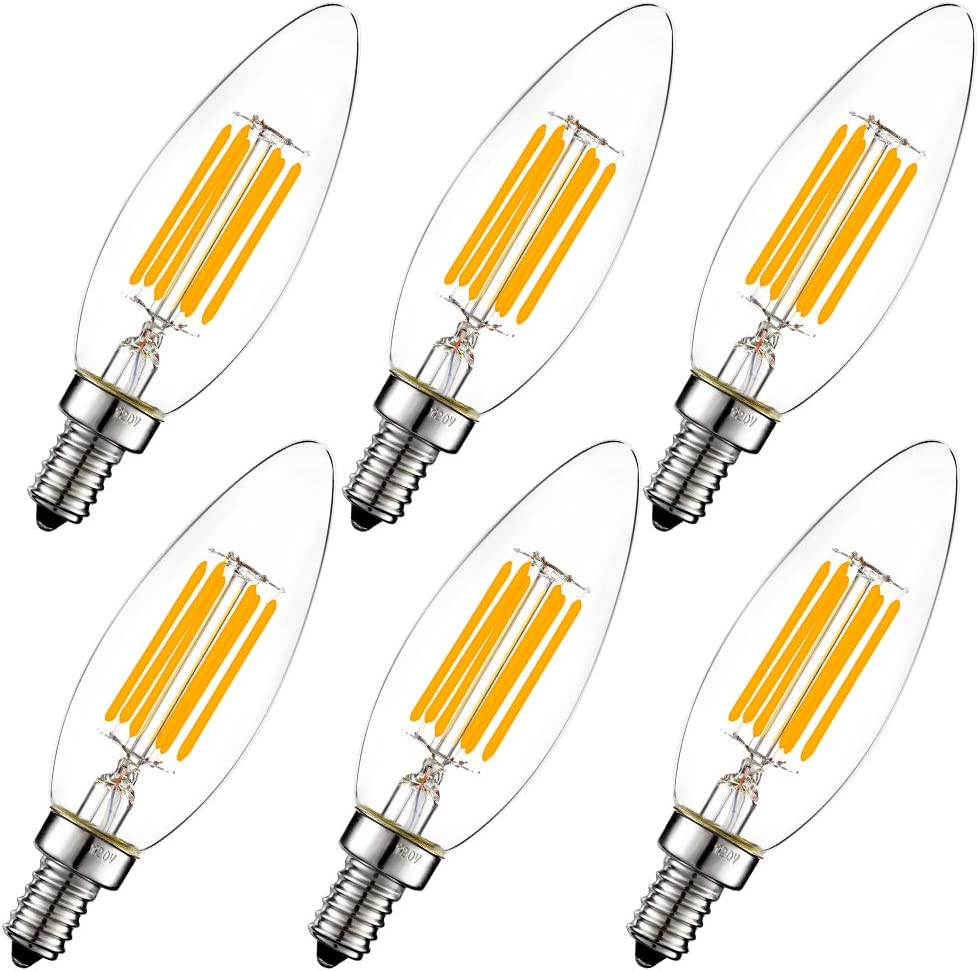 LiteHistory Dimmable B10 led Bulb 6W Equal 60W led Candelabra Bulb 2700k Clear e12 Edison Bulb for Chandelier Light Bulbs and Ceiling Fan Light Bulbs AC120V 600lm b11 led Bulb Torpedo 6Pack - -