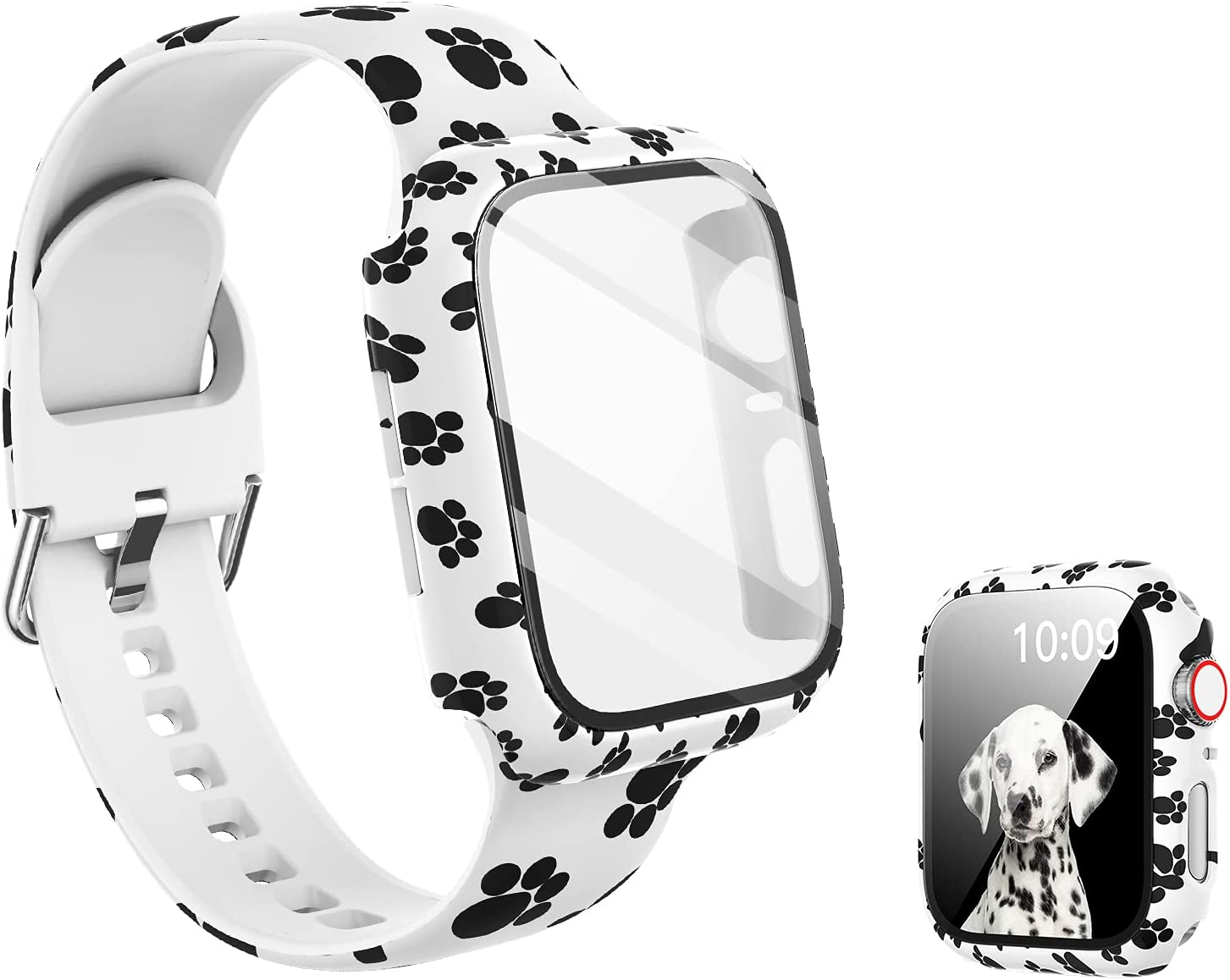 Compatible with Apple Watch Band 44mm with Screen Protector Case, Women Girl Pattern Printed Glass Screen Protector and Replacement Silicon Wristband Strap for iwatch Series 6 5 4 Se Accessories