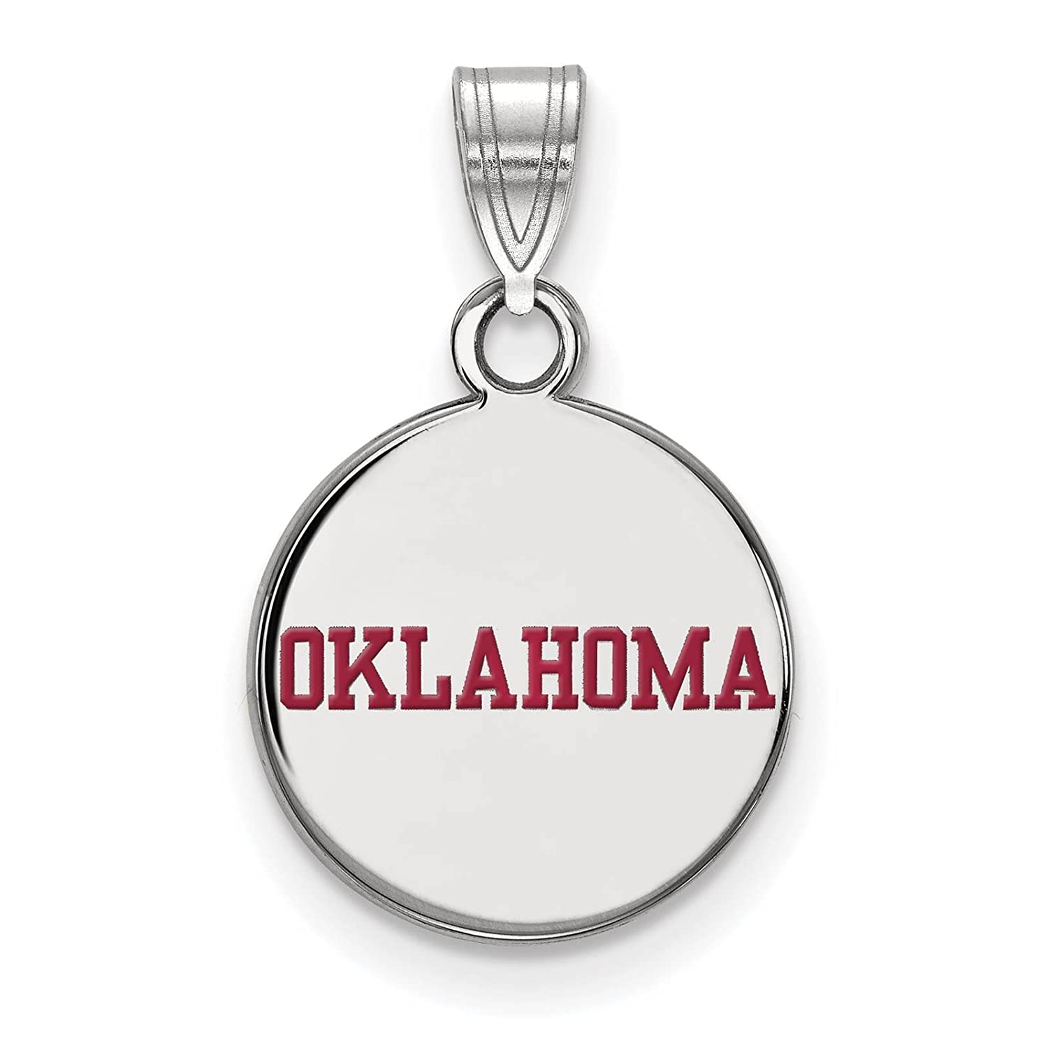 925 Sterling Silver Rhodium-plated Laser-cut University of Oklahoma Small Enameled Disc Pendant