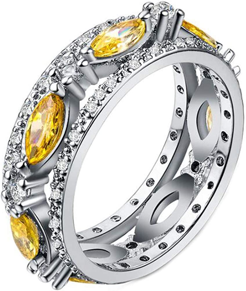 14k White Gold Marquise Cut Canary Yellow Cubic Zirconia Eternity Bands for Women,Size 6-10