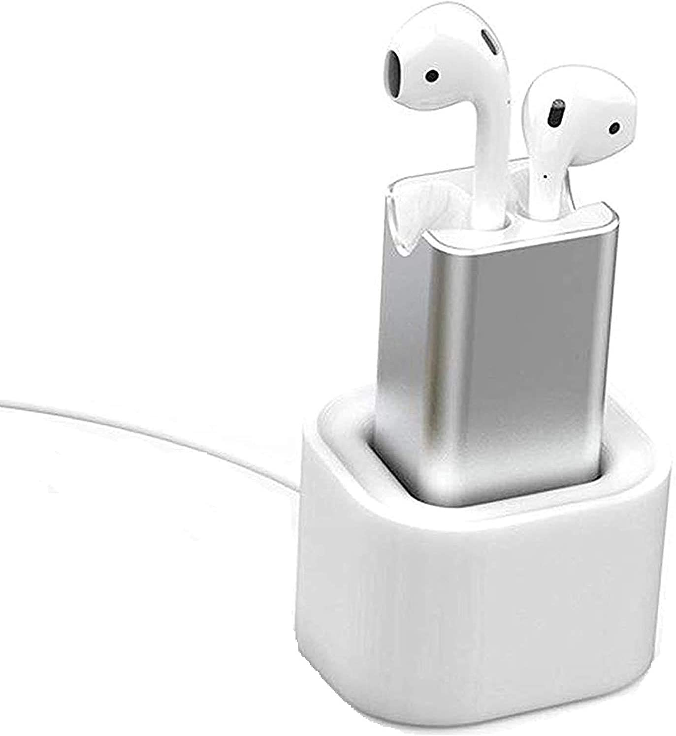 POWVAN 15 Minutes Fast Charger Adapter Compatible with Airpod 1st & 2nd for Air Pods case Replacement Charger with Desktop Stand Holder