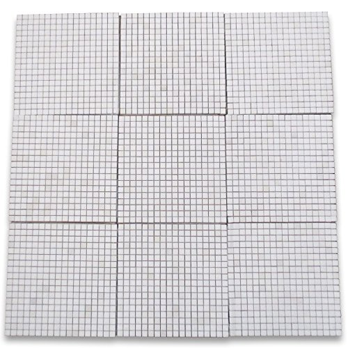 Thassos White Greek Marble Square Mosaic Tile 5/8 x 5/8 Honed