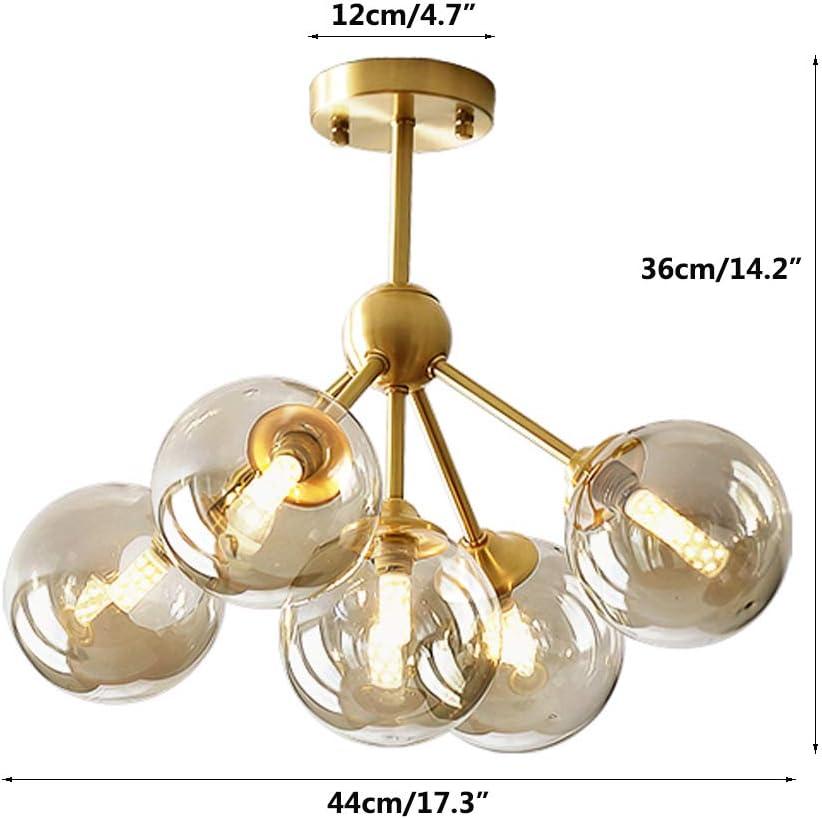 Modo Lighting Sputnik Chandelier 5 Light Glass Globe Chandeliers Brass Flush Mount Ceiling Pendant Light Modern Hanging Light For Bedroom Bathroom Living Room 5 Lights