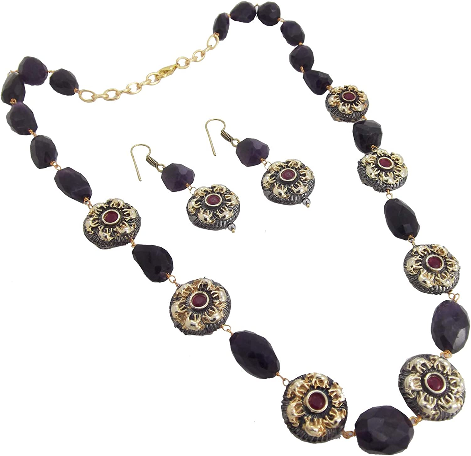 Biyu Womens Christmas Collection Dark Amethyst Semi Precious Gold Plated Necklace Set