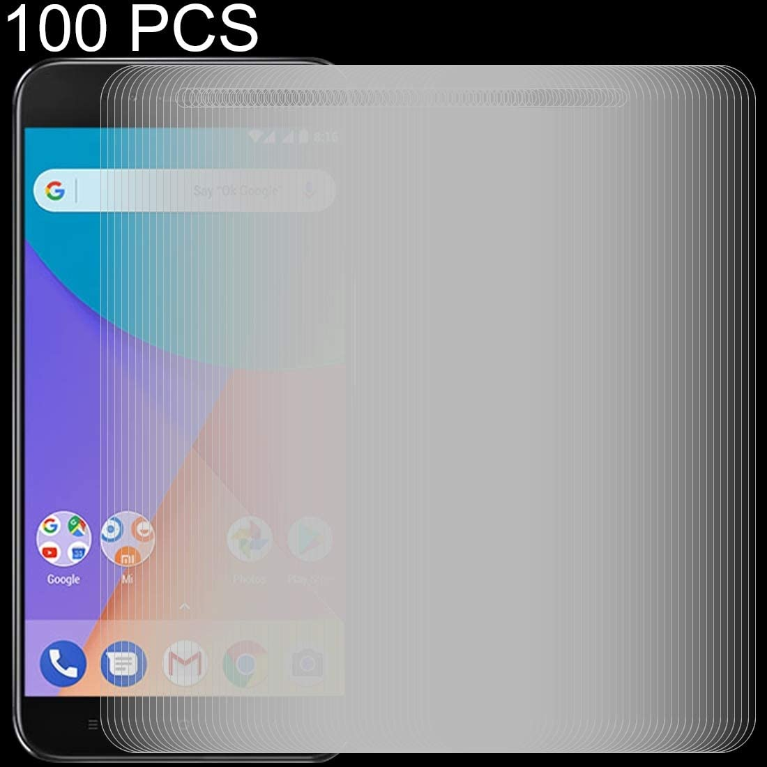 JIANGNIUS Screen Protector 100 PCS 0.26mm 9H 2.5D Tempered Glass Film for Xiaomi Mi A1