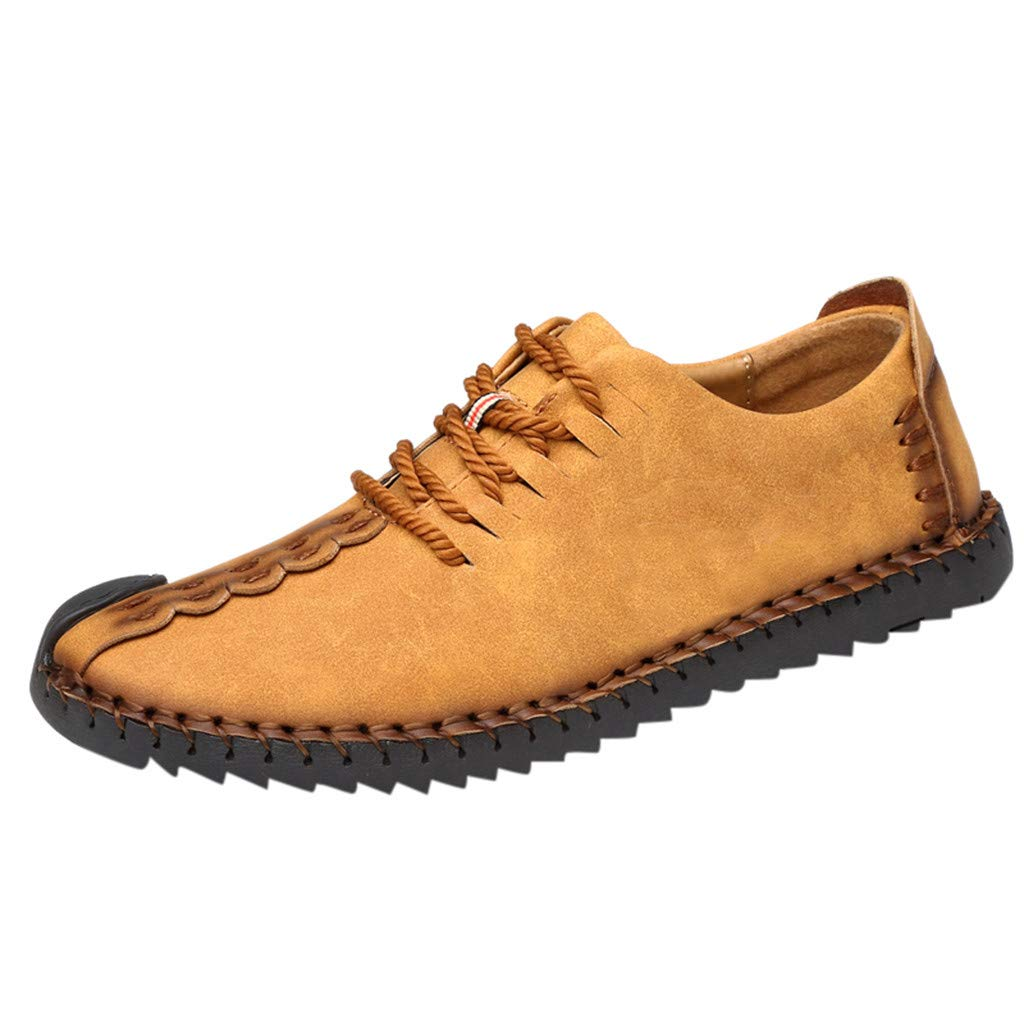 Men Khaki Leather Shoes, Male Outdoor Layer Shoe Casual Non-Slip Shoes Lace-Up Wear-Resistant Walking Shoes Business Shoes lkoezi