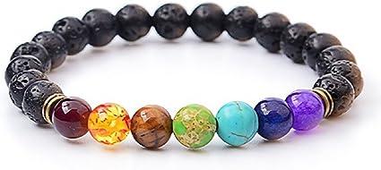 1x Chakra 7 Stone Gemstone Yoga Healing Point   8mm Bead Bracelet Stretchy DA