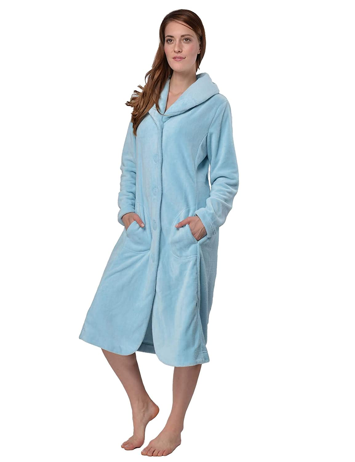 8db329a021 RAIKOU Women s Bath Robe Dressing Gown Lounge Robe with Buttons Soft and  Super Fluffy Coral Fleece Relax Cuddly Terry Microfiber  Amazon.co.uk   Clothing