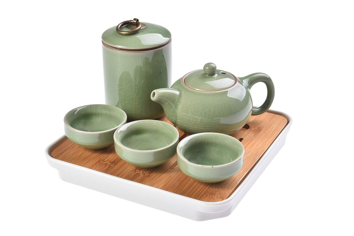 Quantum Abacus Deluxe Travel Tea Set, made of celadon ceramics/celadon porcelain, 6 parts (teapot, tea caddy, three cups, tray and travel bag), Mod. H-TLXZ6-01 The Khan Outdoor & Lifestyle Company