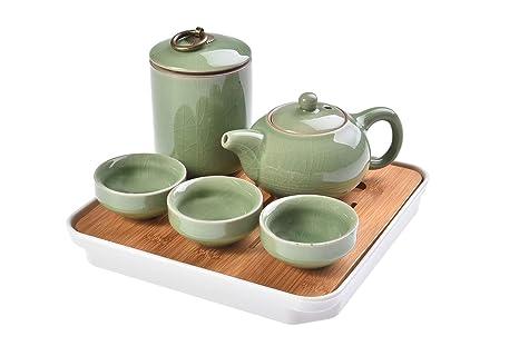 Quantum Abacus Deluxe Juego de té de Viaje, Hecho de cerámica Celadon/Porcelana Celadon