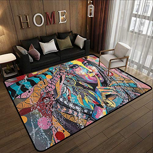 Bedroom Rugs,Modern Art,Sexy Girl with Tribal Dreamcatcher and Ethnic Murky Oriental Bohemian Paint,Multicolor 71