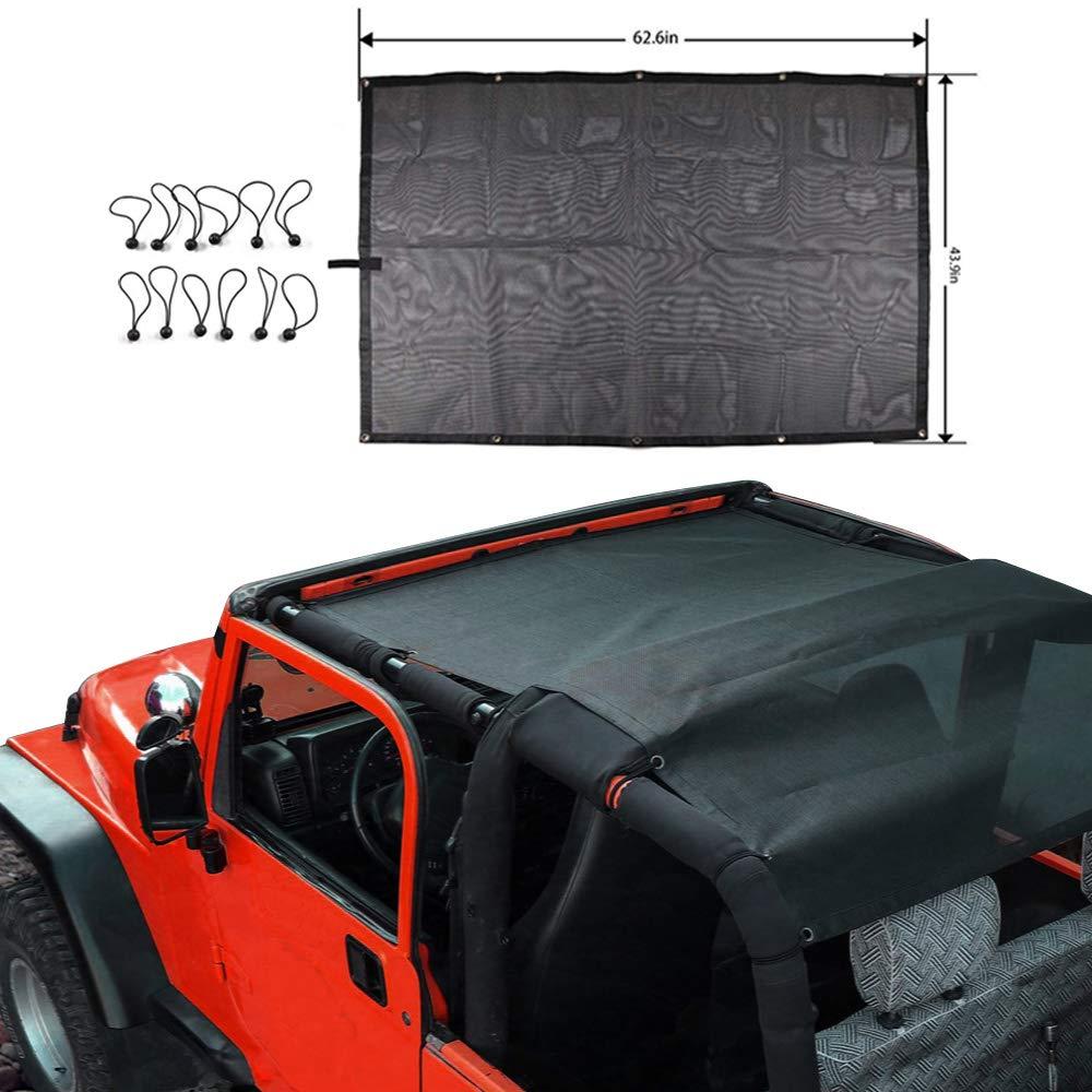 TOAPCAYR TJ Mesh Bikini Top Sunshade UV Protection Soft Top for 1997-2006 Jeep Wrangler TJ and 1987-1999 YJ in Black Shade
