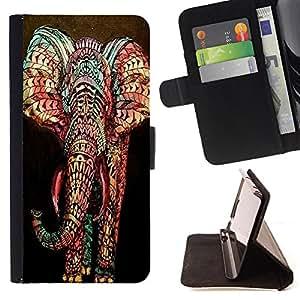 - Elephant Cute Aztec - - Monedero PU titular de la tarjeta de cr?dito de cuero cubierta de la caja de la bolsa FOR LG OPTIMUS L90 Retro Candy