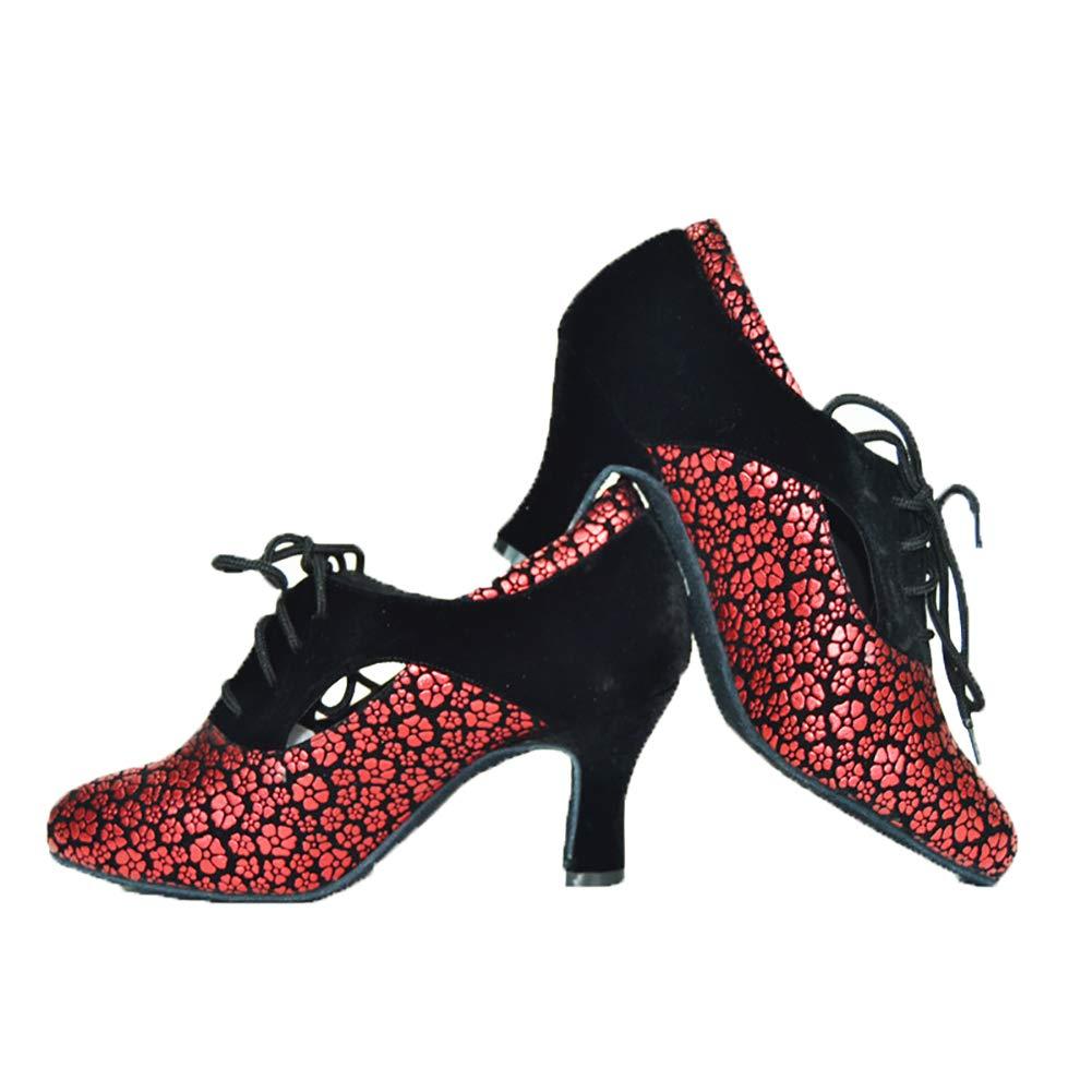 KQJLatin Donna Donna Donna Stampa Scarpe Da Ballo Moderne Cravatta Anteriore Accogliente Fondo Morbido Scarpe Da Ballo Da Ballo Antiscivolo Leggero,Red(Heel 7.5cm),40EU ab3a27
