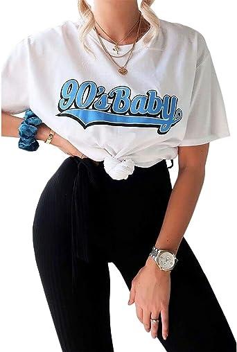 RIDDLED WITH STYLE Camisa Estampada de Slogan para Mujer: Amazon.es: Ropa y accesorios
