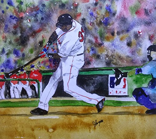 David Ortiz, Red Sox Painting, Fenway Park, Watercolor Art Print - Open Edition