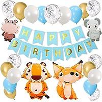 Decoración de Cumpleaños, Azul Feliz Cumpleaños Animal Selva Globo Zorro Elefante Hipopótamo Tigre Pancartas Happy…