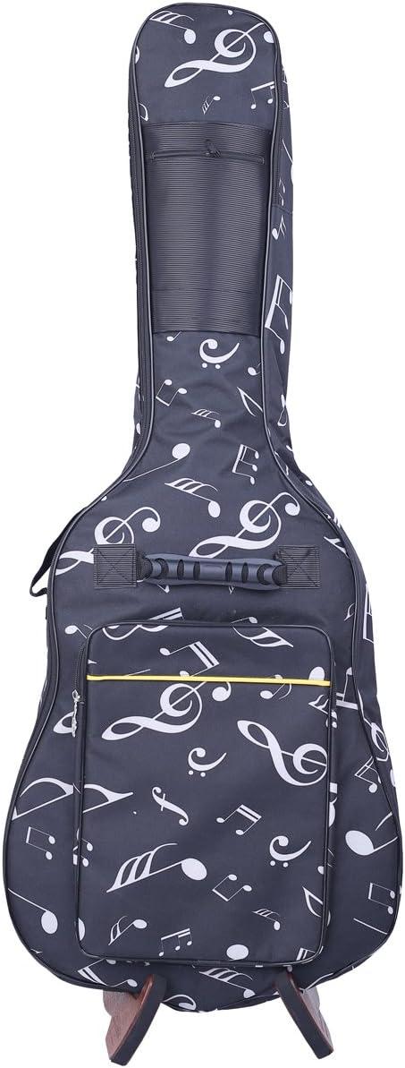 KingsPoint, Oxford. Funda de guitarra, tamaño completo, acolchada, con correas de mochila, Music Notes Pattern