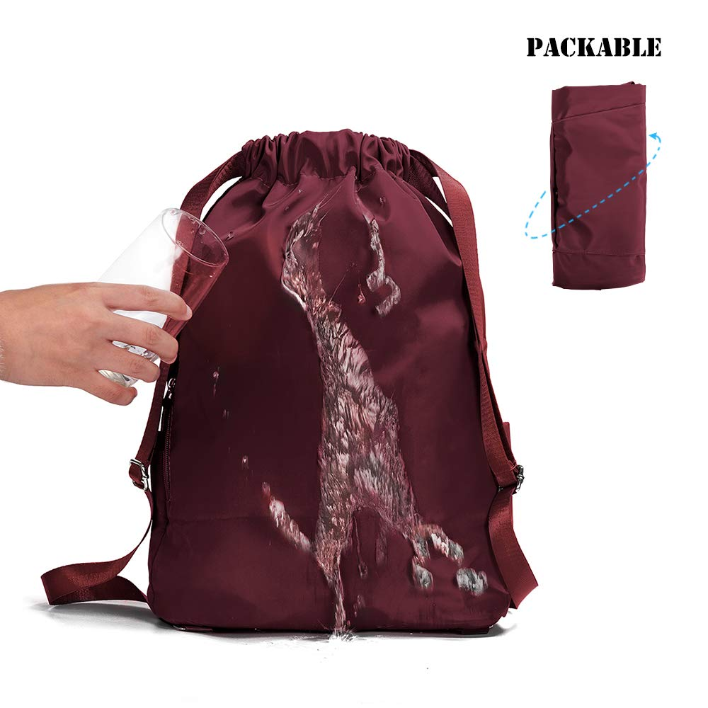 Amazon.com | ZOORON Waterproof Drawstring Gym Backpack Bag for Men & Women, Sport Gym Sack Mini Travel Daypack (d-claret) | Drawstring Bags