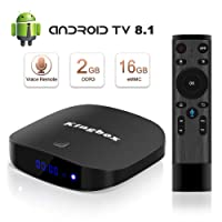Android 8.1 TV Box with voice remote 2GB+16GB Support 4K (60Hz) Full HDMI/H.265/2.4GHz WiFi KINGBOX K2S smart TV Box (Android TV SYSTERM)