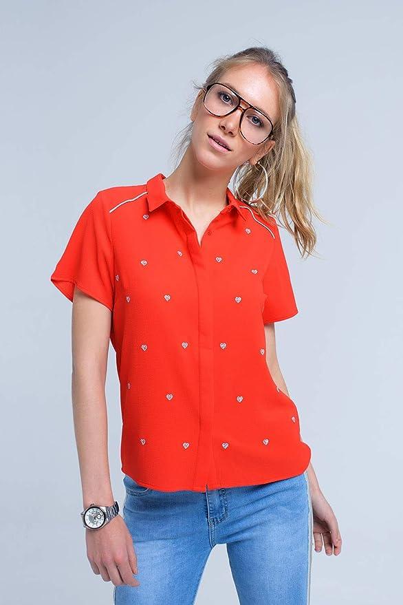 Q2 Camisa Roja con Bordado de Corazones Mujer: Amazon.es: Ropa y accesorios