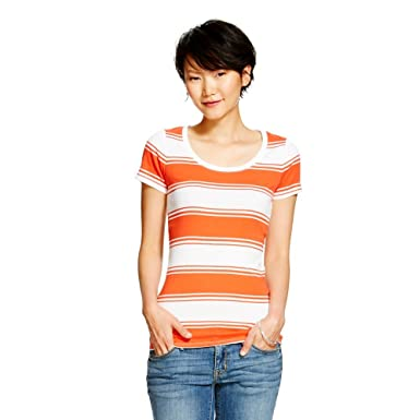 Amazon.com: Merona Women's Ultimate Scoop Neck T Shirt Coral White ...