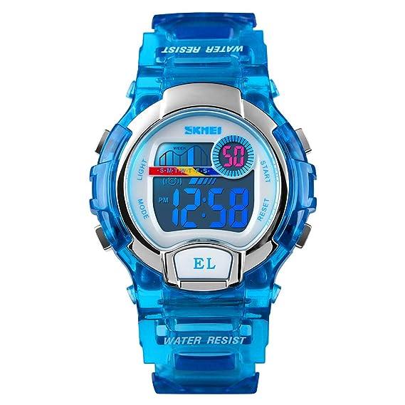 Reloj de Pulsera Digital para niños de 50 m, Resistente al Agua, multifunción, para niños y niñas: Amazon.es: Relojes