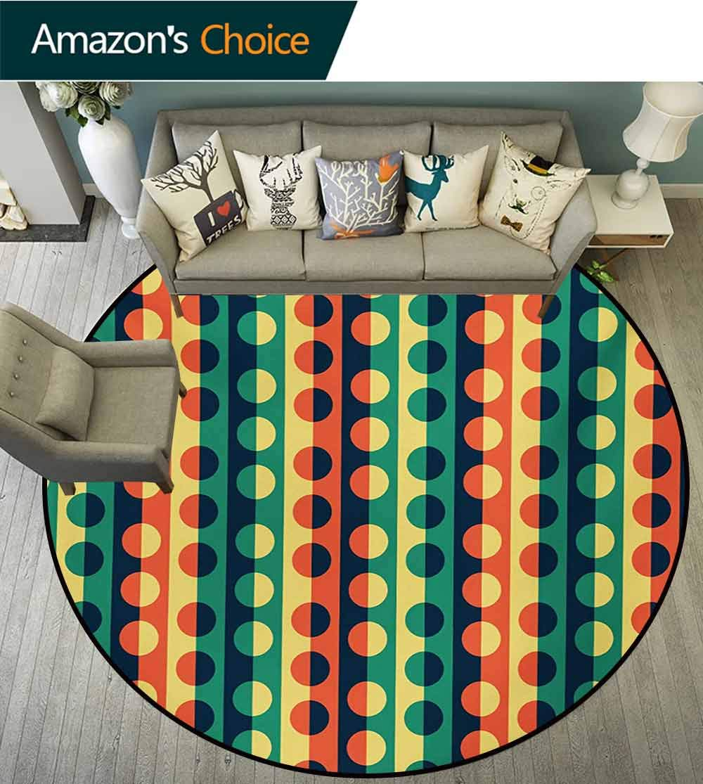 RUGSMAT Geometric Circle Round Area Rugs Living Room,Pop Art Style Vertical Striped Half-Pattern Ring Forms Retro Poster Print Study Computer Chair Cushion Base Mat Round Carpet,Diameter-39 Inch