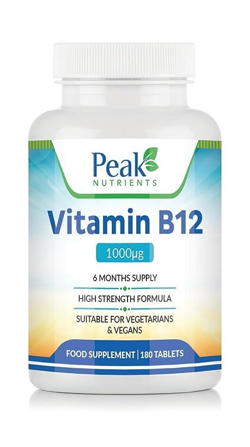Vitamina B12, 180 Comprimidos de 1000 mcg (Suministro para 6 meses), Favorece