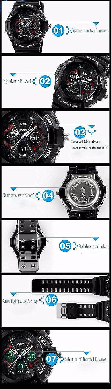 Amazon.com: fanmis Unisex Sport Watch Analog/Digital Dual ...