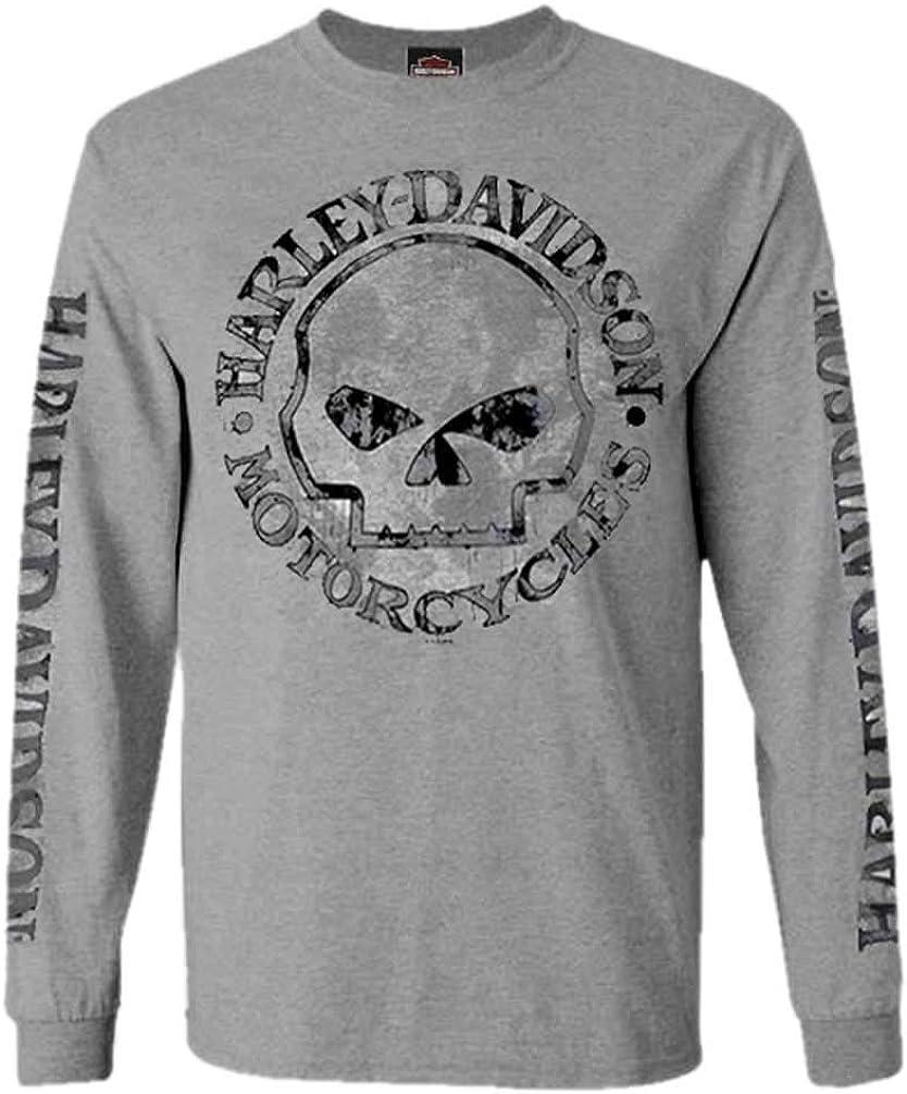 Harley-Davidson Mens Shirt, Willie G Skull Long Sleeve Tee, Gray 30296651: Amazon.es: Ropa y accesorios
