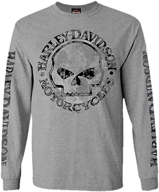 Harley-Davidson Mens Shirt, Willie G Skull Long Sleeve Tee, Gray 30296651: Amazon.es: Ropa y accesorios