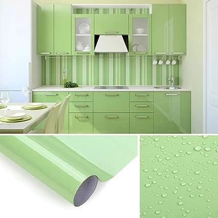 KINLO Adesivi Carta per mobili 0.6M*5M(1 Rotolo) Verde Nessuna Colla PVC  Impermeabile Adesivi mobili rinnovato mobili da Cucina Autoadesivo Wall ...