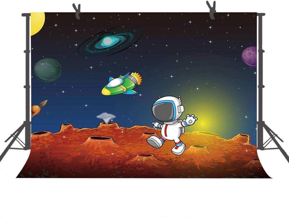 10x8ft Baby Kids Astronaut Party Photography Background Cartoon Backdrop Studio Photo Props LHFU039
