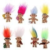 Fenteer Dollhouse Miniature 8 Pieces Retro Troll Doll Leprocauns Dam Figures Toy Cake Toppers Kids Children School Project