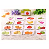 (Fruits & Vegetables) - Baby Infant 32pcs Flash Card Jigsaw Cognition Puzzle Shape Matching Cognitive Learning Early Education Card Toys (Fruits & Vegetables)