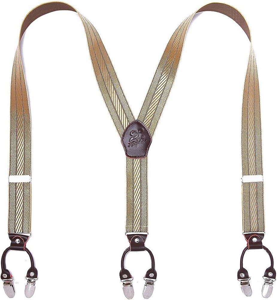 FYDRISE Bretelle Uomo Y Forma con 6 Forte Clips Elastici Regolabile Larghezza 3.5cm Lungo 120cm a righe