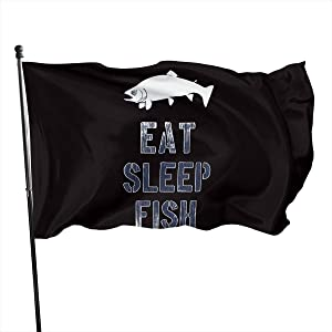 AOOEDM Eat Sleep Fish Banner Outdoor Flags 3x5 Ft
