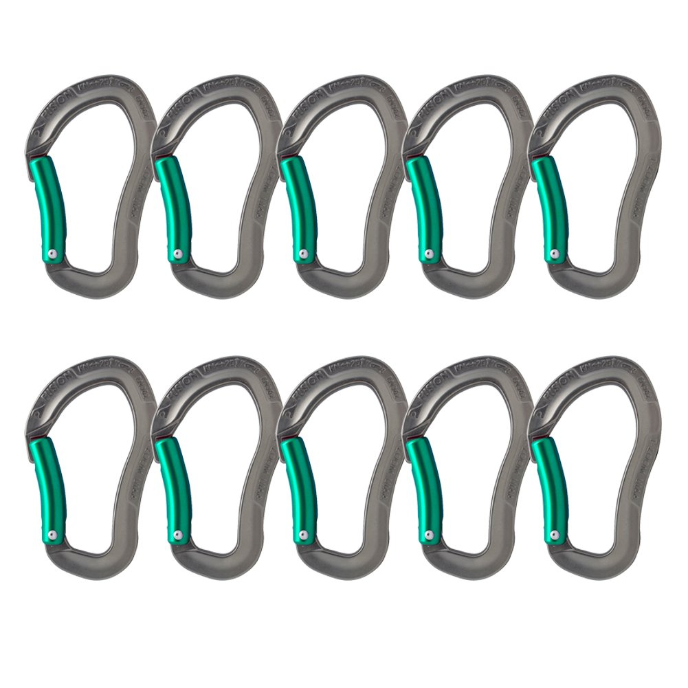 Fusion Climb Techno Zoom Bent Gate Ergonomic Carabiner Gray/Turqoise 10-Pack