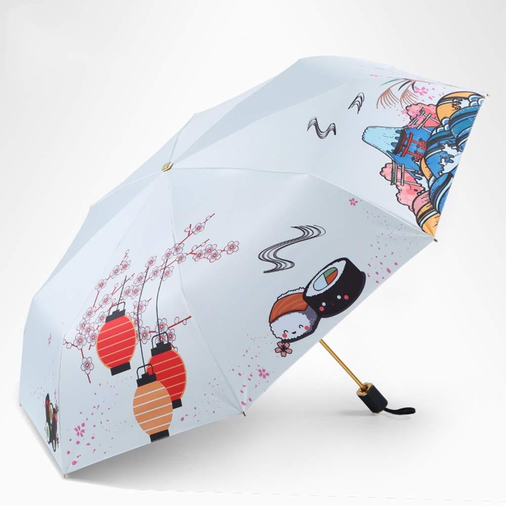 防風傘8骨傘スタンド超軽量抗紫外線雨と雨のデュアルユース簡単折りたたみ三つ折り傘傘 (色 : B) B07P8LYM3C B