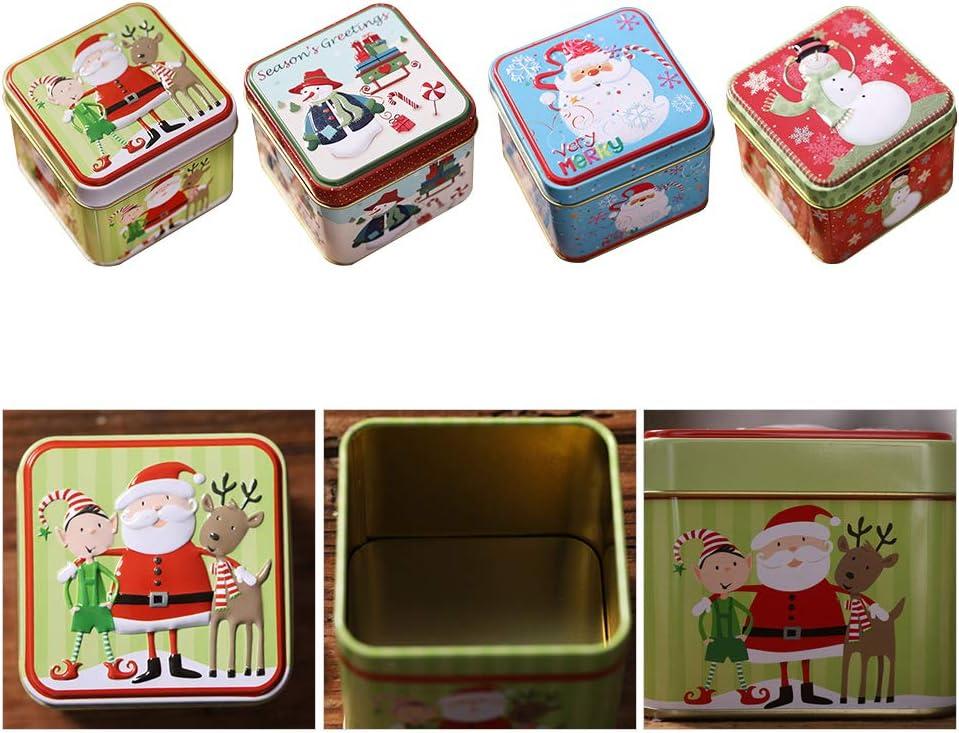 Emballage Bo/îte De Cadeau De No/ël pour Bonbons Biscuit Cadeaux pour Enfants Bo/îtes /À Bonbons No/ël Mini Bo/îte De Rangement De Fer CJMING No/ël Bo/îte Carr/é en M/étal