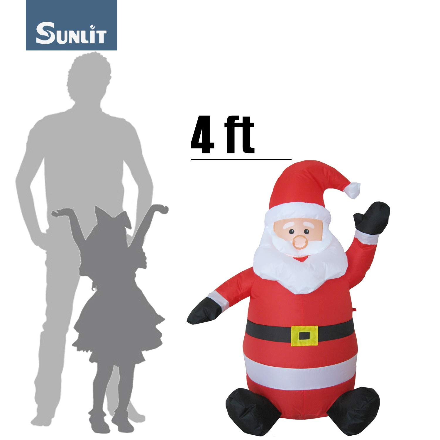 Sunlit Christmas Inflatable 4 feet LED Lighted Waving Smile Santa ...